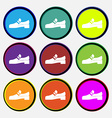 Shoe icon sign Nine multi colored round buttons vector image vector image