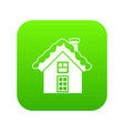 small snowy cottage icon digital green vector image
