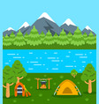 summer camping tourism flat background vector image vector image