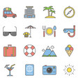 summer travel linear and beach vacation line icons vector image vector image