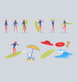 surfer woman characters with beach items vector image