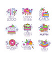 Sweets cakes ice cream logos set confectionery vector image