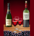 three wineglass and champagne bottles vector image vector image