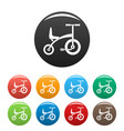 tricycle icons set color vector image vector image