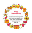 valentines day round concept with love icons in vector image vector image