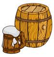 wooden beer keg and mug of beer vector image