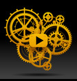 yellow gear wheels of clockwork with move arrow vector image