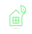 green thin line eco house logo vector image
