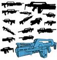 machine gun silhouettes vector image