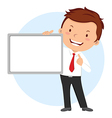 Man holding whiteboard vector image
