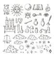 Set of trendy alchemy symbols collection vector image