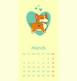 2019 march calendar with welsh corgi dog falling vector image vector image