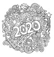 2020 doodles new year objects vector image vector image