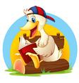 A happy duck reading vector image vector image