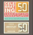 anniversary retro background 50 years vector image vector image