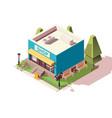 big shop supermarket with bicycle parking vector image vector image