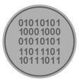 binary code silver coin vector image vector image