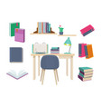 books old learning symbols publishing dictionary vector image