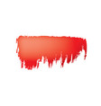 brush stroke red paint on white background vector image vector image