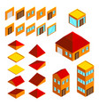 building elements isometric houses icons set vector image