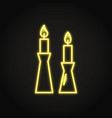 burning candles in candlestick icon in neon line vector image vector image