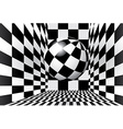 Checkered room with ball vector image vector image