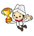 chef character is holding a trophy isolated on vector image vector image