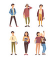 collection of male and female students dressed in vector image vector image