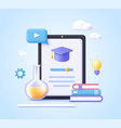 concept mobile learning e-learning and online vector image