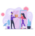 courier in mask and gloves gives online order to vector image