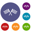 crossed chequered flags icons set vector image vector image