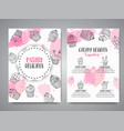 cupcake background with handdrawn cupcakes vector image vector image