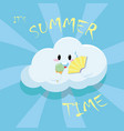 cute cloud with ice cream and fan poster vector image