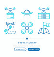 drone delivery thin line icons set vector image vector image