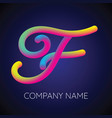 f letter logo icon blending color vector image