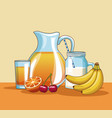 fresh fruits and juice vector image