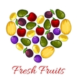 Fresh fruits poster with fruit heart shape vector image vector image