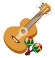guitar maracas color of a summer theme vector image