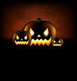 happy halloween poster with pumpkins vector image