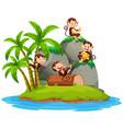 happy monkey on isolated island vector image