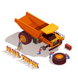 haul truck isometric composition vector image vector image