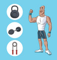 healthy man athletic muscular gym equipment vector image vector image