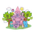little fairies group with monsters in the castle vector image
