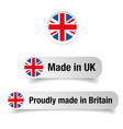 made in uk label set vector image vector image