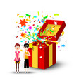man and woman with open gift box and confetti vector image vector image