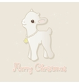 Merry Christmas card with little goat vector image vector image