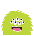monster scary screaming face head icon eyes fang vector image vector image