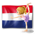 netherlands flag and the gymnast vector image
