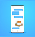 online conversation mobile chat app sending vector image