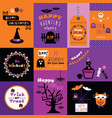 orange pink and purple happy halloween mini cards vector image
